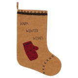 Warm Wishes Stocking w/Applique Mitten & Pom Pom Lace 11x15