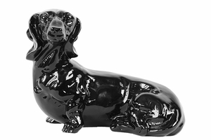 Watchful and Cautious Ceramic Black Dog by Urban Trends Collection