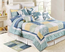Water Edge Queen Size Nautical Quilt Cotton 90 Inch L X 92 Inch W Brand C&F