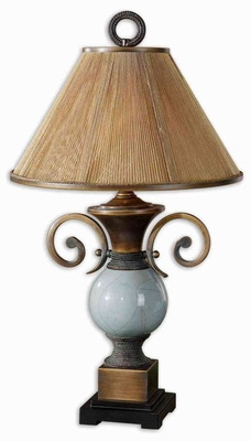 Wayland Crackled Blue Lamp with Bronze Detailing Brand Uttermost