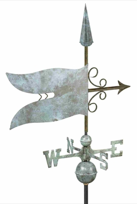 Weather Vane - Charming Banner Flag Weathervane For Your Roof Brand Good Direction