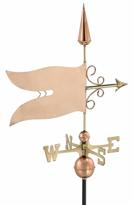 Banner Weathervane - Polished Copper by Good Directions