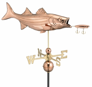 Bass with Lure Weathervane - Polished Copper by Good Directions