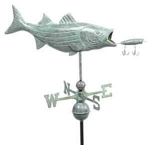 Weather Vane - Charming Bass And Lure Weathervane For Your Roof Brand Good Direction