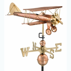 Biplane Weathervane - Polished Copper by Good Directions