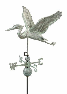 Blue Heron Weathervane - Blue Verde Copper by Good Directions