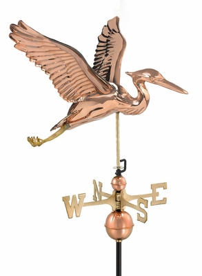 Blue Heron Weathervane - Polished Copper by Good Directions
