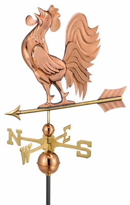 Crowing Rooster Weathervane - Polished Copper by Good Directions