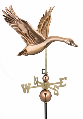Feathered Goose Weathervane - Polished Copper by Good Directions
