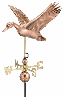 Flying Duck Weathervane - Polished Copper by Good Directions