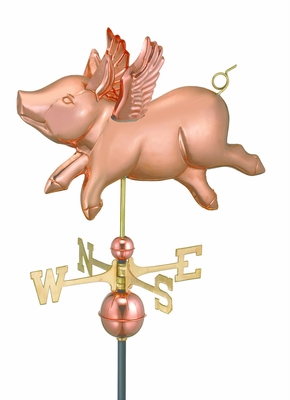 Flying Pig Weathervane - Polished Copper by Good Directions