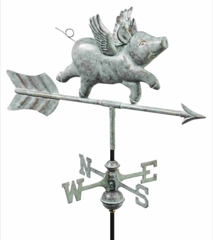 Weather Vane - Charming Flying Pig Weathervane For Your Roof Brand Good Direction