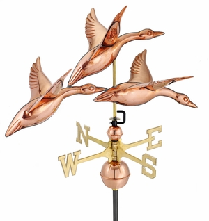 "28"" 3 Geese in Flight Weathervane - Polished Copper by Good Directions"