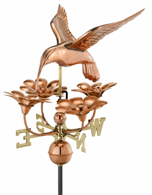 Hummingbird with Flowers Weathervane - Polished Copper by Good Directions