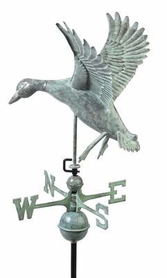 Landing Duck Weathervane - Blue Verde Copper by Good Directions
