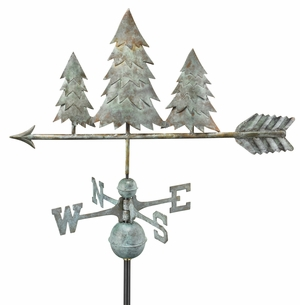 Pine Trees Weathervane - Blue Verde Copper by Good Directions