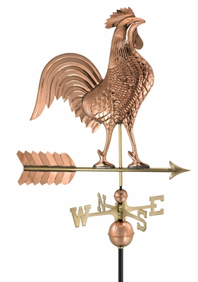 "27"" Rooster Weathervane - Polished Copper by Good Directions"