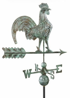"25"" Rooster Weathervane - Blue Verde Copper by Good Directions"