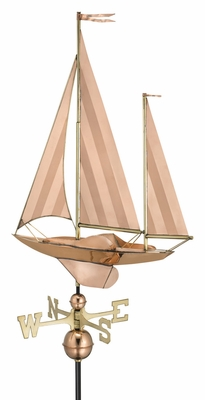 Large Sailboat Weathervane - Polished Copper by Good Directions