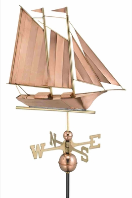 Schooner Weathervane - Polished Copper by Good Directions