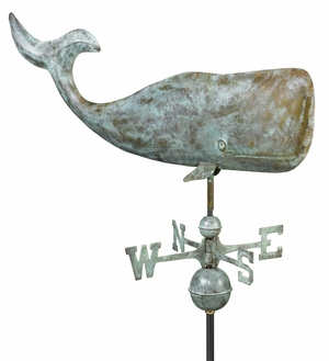 "37"" Whale Weathervane - Blue Verde Copper by Good Directions"