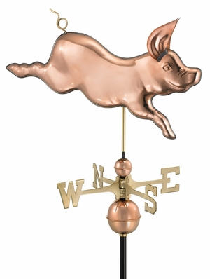 Whimsical Pig Weathervane - Polished Copper by Good Directions