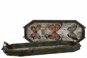 Weathered Effect Wooden Tray Set of Two Beautifully Embellished w/ Butterflies & Two Metal Handles Attached