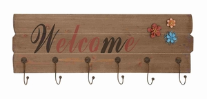 Welcome Alluring Wood Wall Hook Sign Brand Benzara