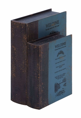 Welcome Guest Book Box Set In Antique Wood Brand Woodland