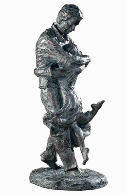 Welcome Home Sculpture In Bronze Patina Verdigris Glaze Brand Uttermost