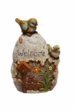 Welcome Sign Rock with Bird Garden Statue by Alpine Corp
