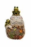 Welcome Sign Rock with Frog Garden Statue by Alpine Corp