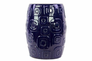 Well Carved Ceramic Garden Stool Dark Blue by Urban Trends Collection
