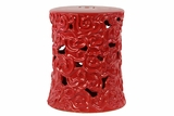 Well Carved Fantastic Ceramic Garden Stool Red
