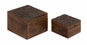 Well Designed Smart Wood Carved Box by Woodland Import