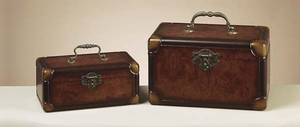 Wellington Wood Boxes Set with Metal Handle in Brown - Set of 2 Brand Woodland