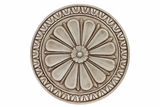 Wheel Cement Wall Decor Embellished w/ Beautiful Flower Motifs & Patterns in Sandstone
