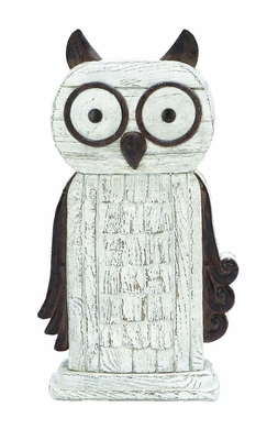 Whimsical Perching Owl Decor In White Polyresin Cast Brand Woodland