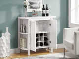 """White 36""""H Bar Unit with Bottle and Glass Storage"""