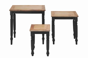 White Accent Table in Mahogany with Sturdy Legs Set of 3 Brand Woodland