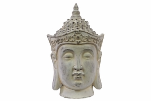 White Antique Harmonious Fiberstone Buddha Face by Urban Trends Collection