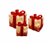 White Christmas Presents with Red Bow and Lights - Set of 3 by Alpine Corp