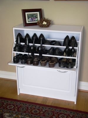 White Classy and Elegant Shoe Cabinet by 4D Concepts
