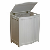 White Finished Bowed Front Laundry Wood Hamper with Interior Bag by Oceanstar