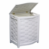 White Finished Bowed Front Veneer Laundry Wood Hamper with Interior Bag by Oceanstar