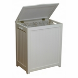 White Finished Rectangular Laundry Wood Hamper with Interior Bag by Oceanstar