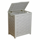 White Finished Rectangular Veneer Laundry Wood Hamper with Interior Bag by Oceanstar