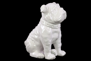 White & Globular Ceramic Dog artifact by Urban Trends Collection