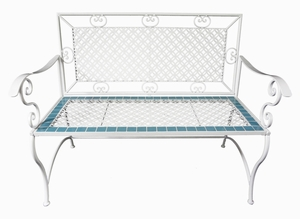 White Iron Bench with Blue Tile Trim by Alpine Corp