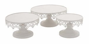 White Polished Elegant Metal Cup Cake Stand by Woodland Import